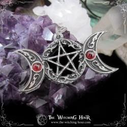 "Pendentif triple lune et pentacle ""Samhain Night"""