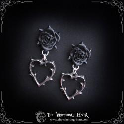 """Boucles d'oreilles roses noires """"Wounded Love"""""""