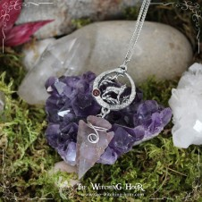 """Collier ouroboros """"The Wolf Song"""" - agate et grenat"""