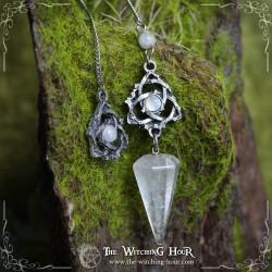 """Pendule triquetra en cristal de roche """"Ivyana Faorelia"""""""