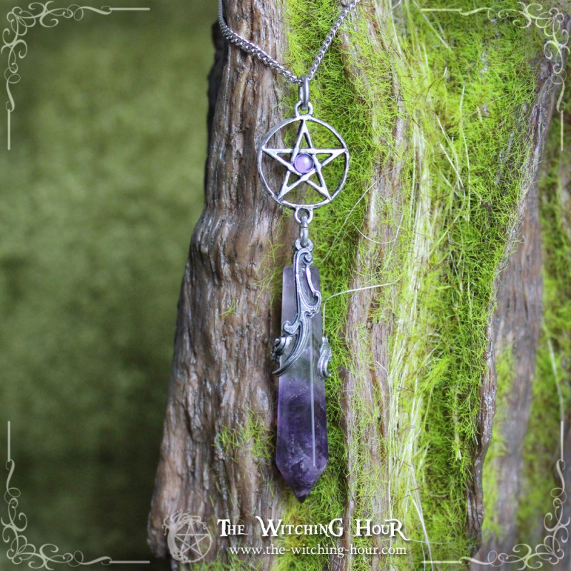 Pentacle Pendulum Necklace With Amethyst