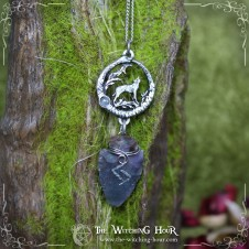 "Collier ouroboros ""The Wolf Song"" - jaspe et labradorite"