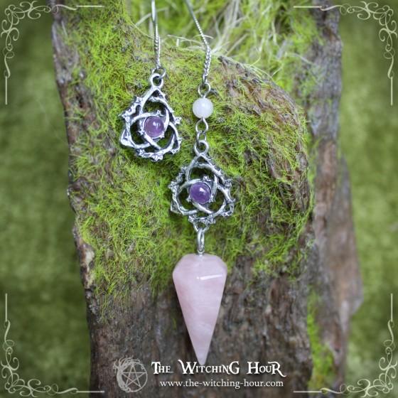 """Pendule triquetra en quartz rose et améthyste """"Ivyana Faorelia"""""""