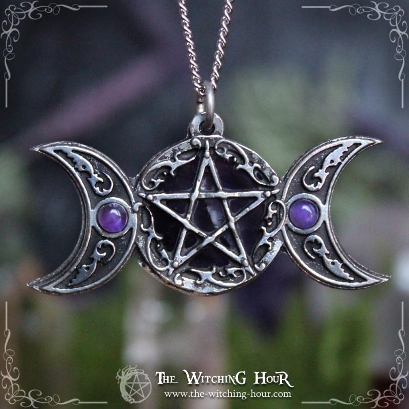 Freyas moon triple moon and pentacle pendant double sided pendant freyas moon triple moon and pentacle pendant mozeypictures Choice Image