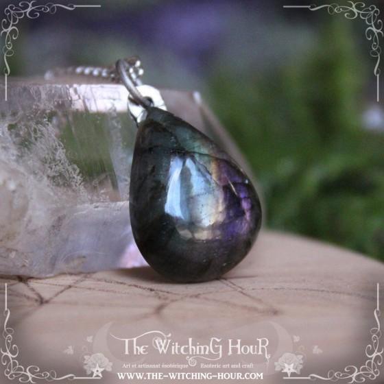 Green and purple labradorite pendant