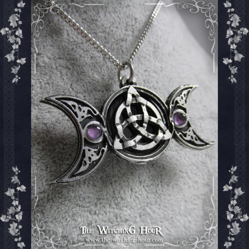 pendant goddess necklace pewter moon crescent triple