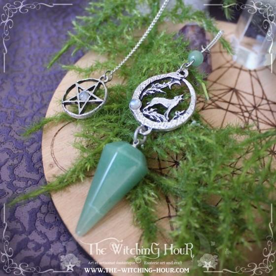 Pendule divinatoire ouroboros et loup