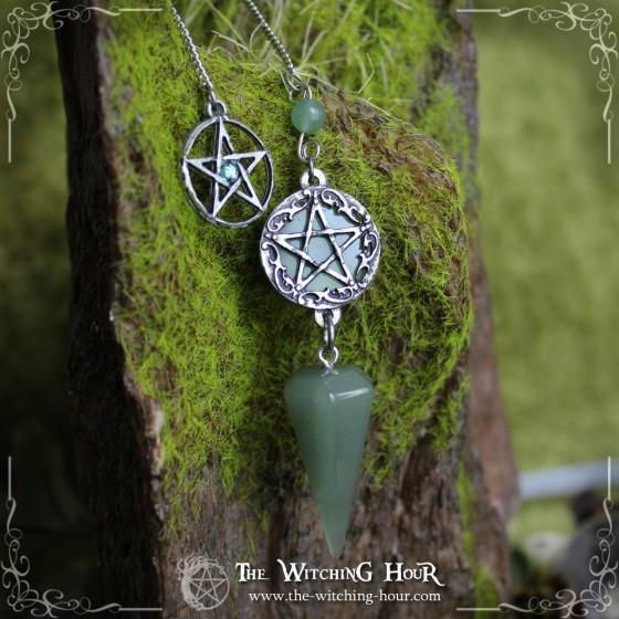Pendule divinatoire pentacle en aventurine verte