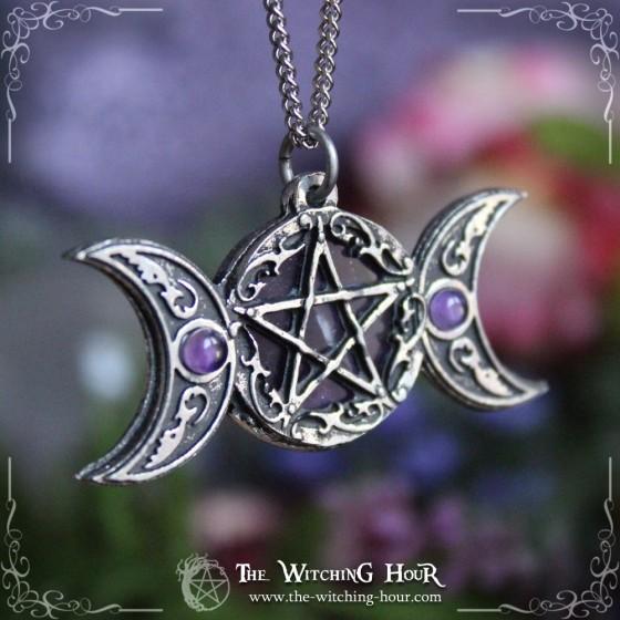 Pentagram and triple moon pendant