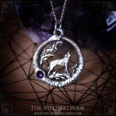 Ouroboros and wolf pendant