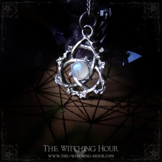 Triquetra pendant with rainbow moonstone