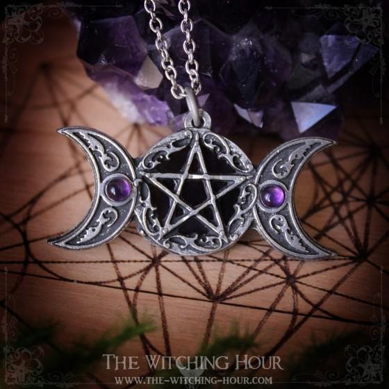 """Pentagram and triple moon pendant """"Freya's Moon"""""""
