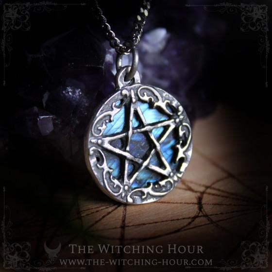 Pentagram pendant with blue labradorite