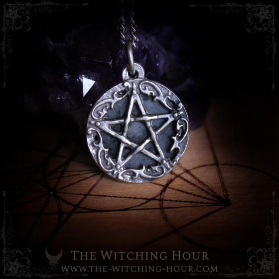 Pentagram pendant with larvikite