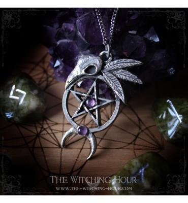 """Pentagram and raven skull pendant """"Orestëan's Secret"""""""