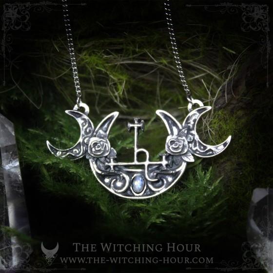 Collier Sigil de Lilith et triple lune