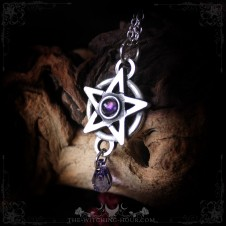 Pentagram necklace with amethyst