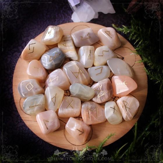 Peach and grey moonstone runes