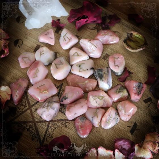 Pink Peruvian opal runes