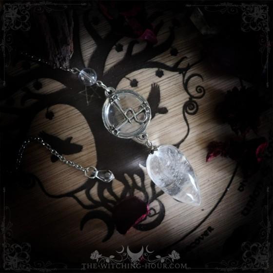 Sigil of Lilith rock crystal pendulum