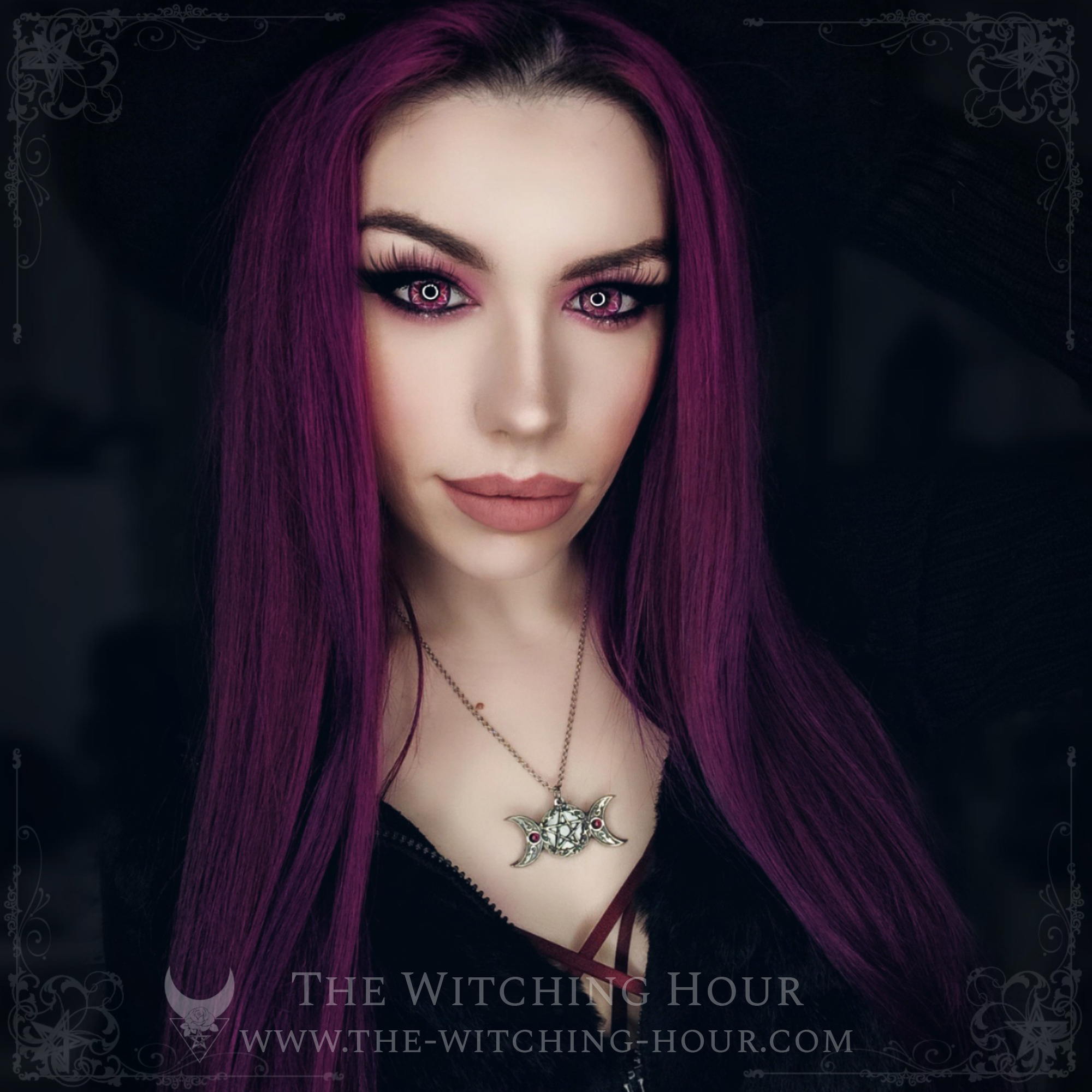 Pentagram and triple moon necklace