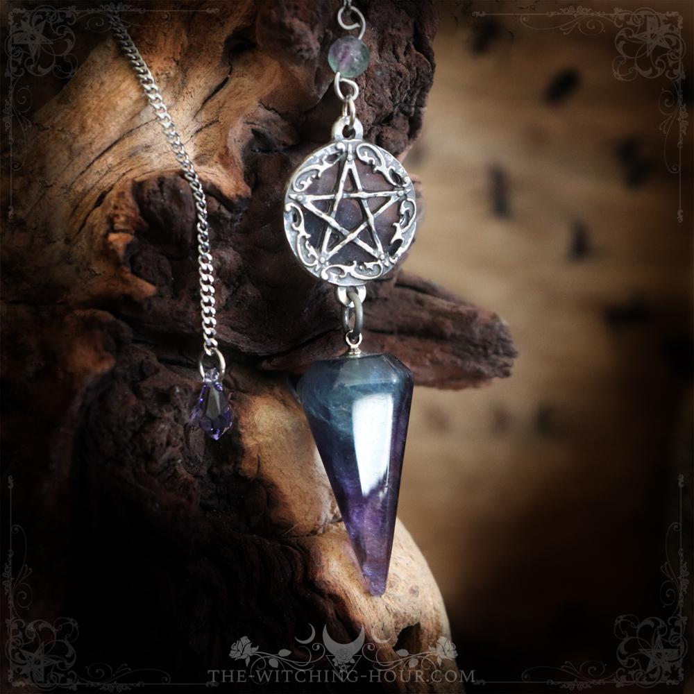 Fluorite pentagram pendulum