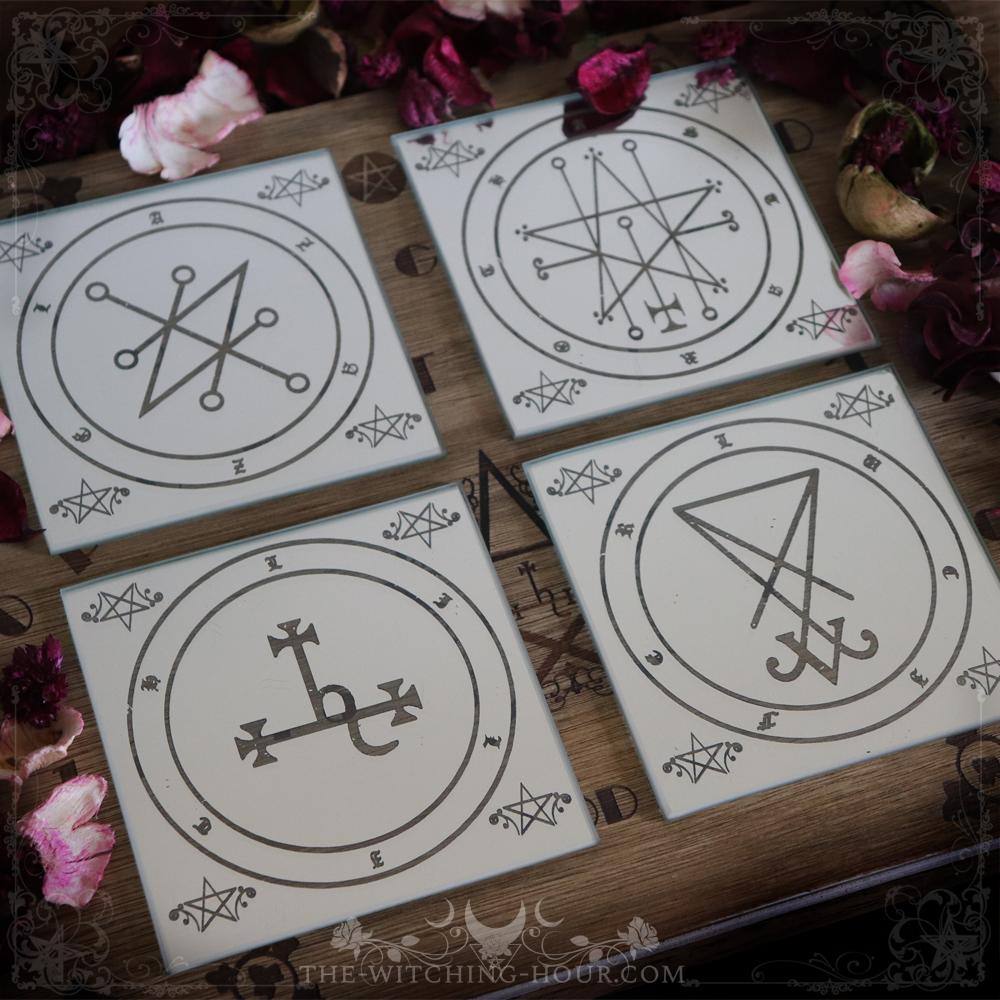 Sigil of Lucifer, Lilith Astaroth and Azazel coasters